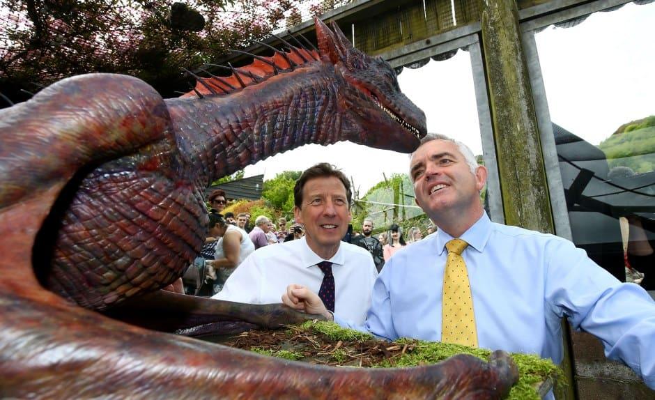 admiring the dragon in Belfast zoo