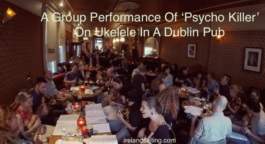 group performance of talking heads on ukulele