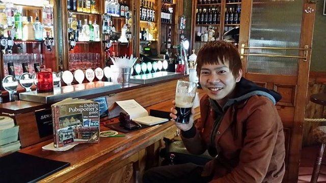 Legendary Yuyu Abe enjoys a pint in Dublin