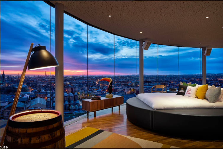 view of the bed in the Guinness gravity bar